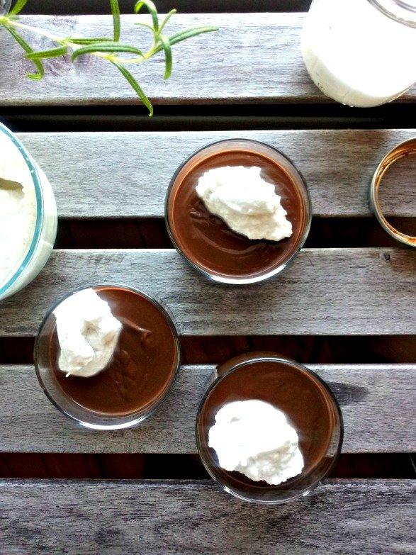 Cinnamon Chocolate Pudding with Maple Coconut Cream