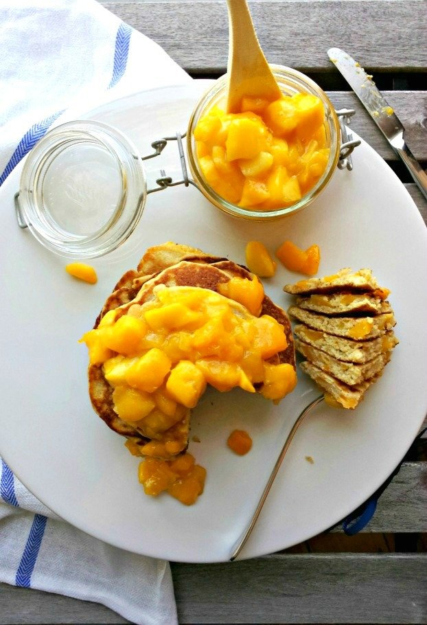 Whole Grain Mango Pancakes & Mango Compote Recipe