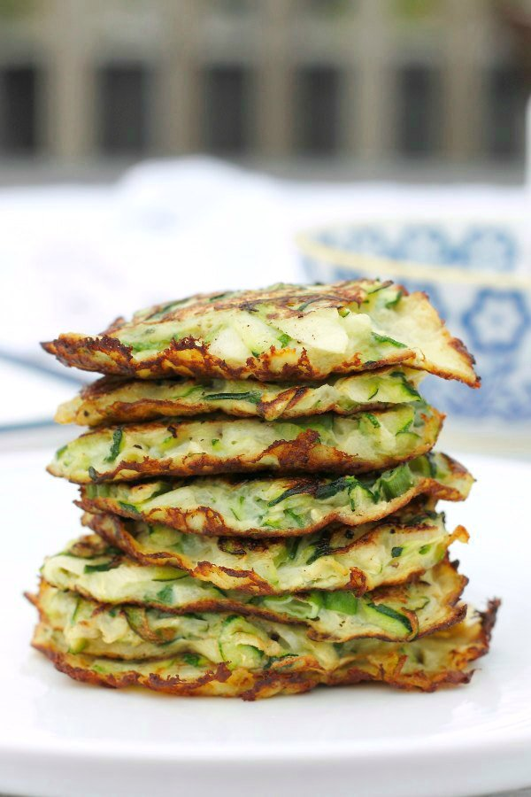 Zucchini Scallion Pancakes with Cucumber Yogurt Dip