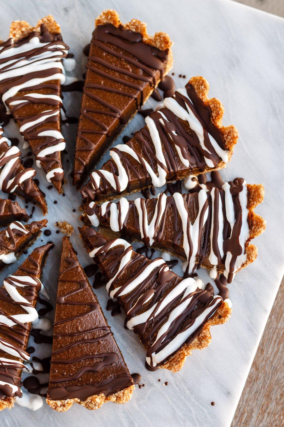 Chocolate avocado tart